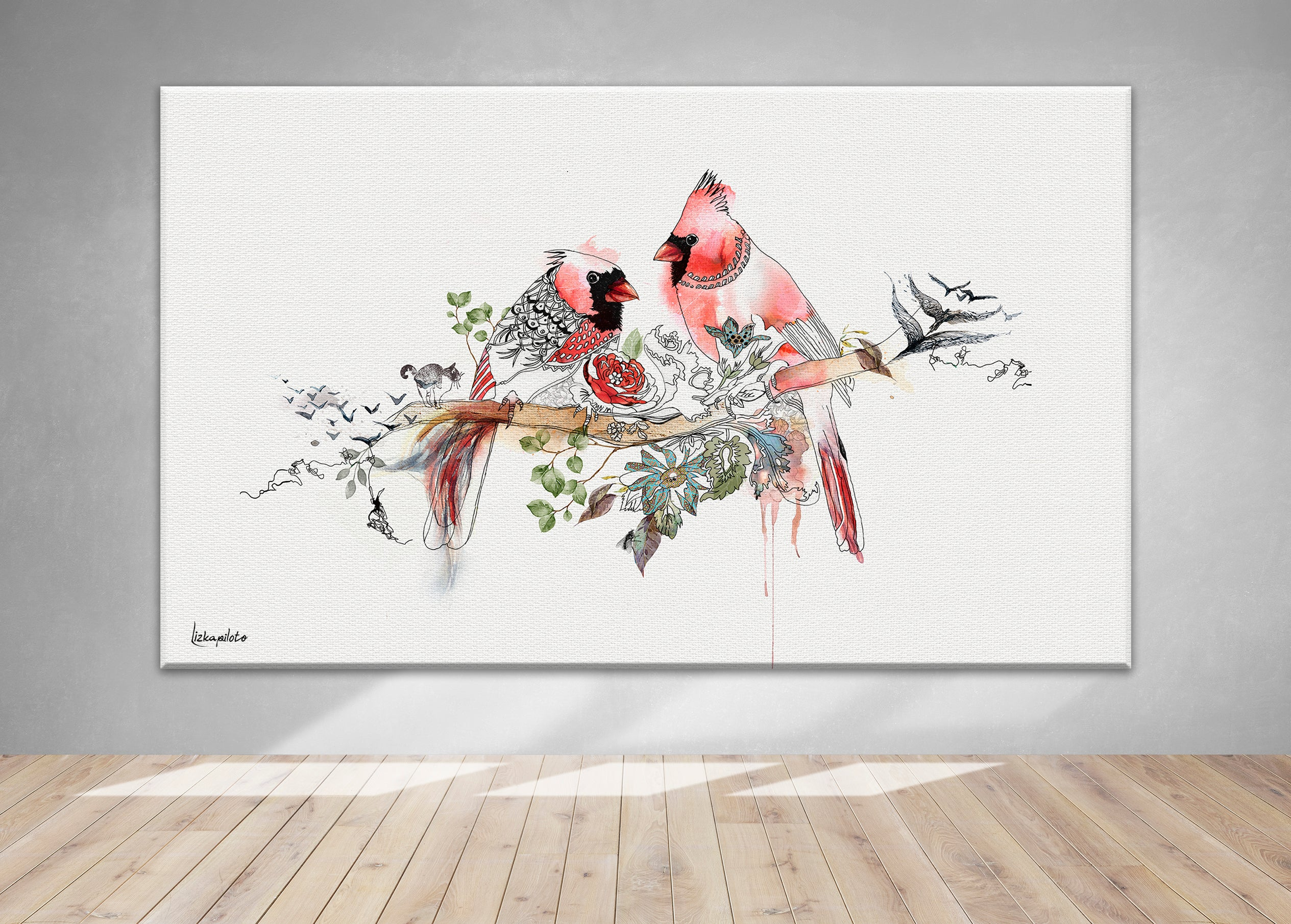 Large red cardinal art on canvas