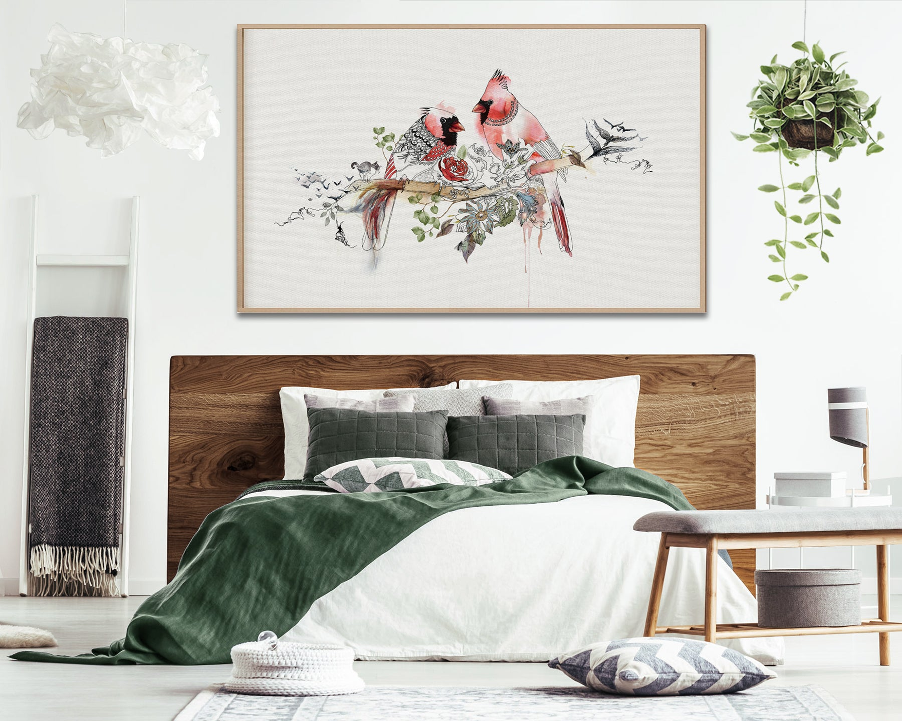 red birds painting on canvas, above bed
