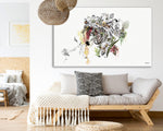 Colorful zebra illustration on canvas, hanged above couch