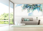 Panoramic wall art of blue abstract painting, hanged on a modern living room