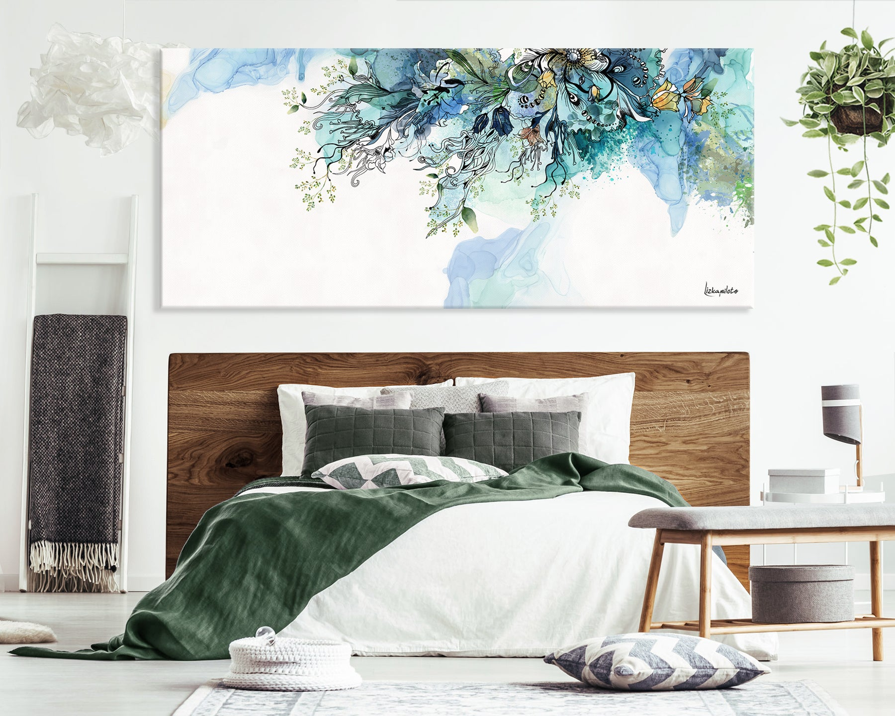 Turquoise abstract painting on large canvas, on bedroom wall