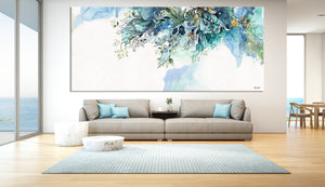 Turquoise abstract art on the wall