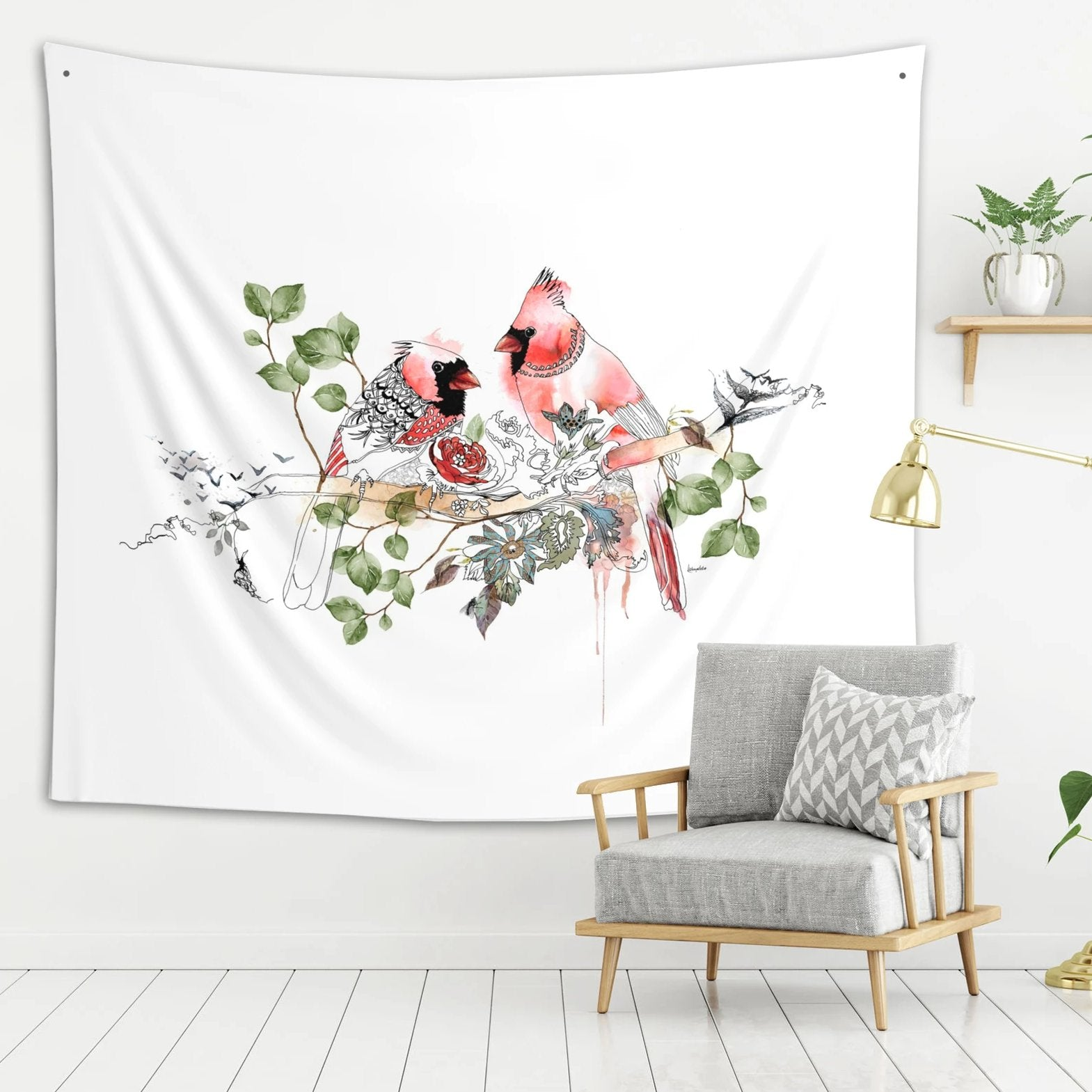 Red birds wall tapestry, hanged on a white wall  | Liz Kapiloto Art & Design