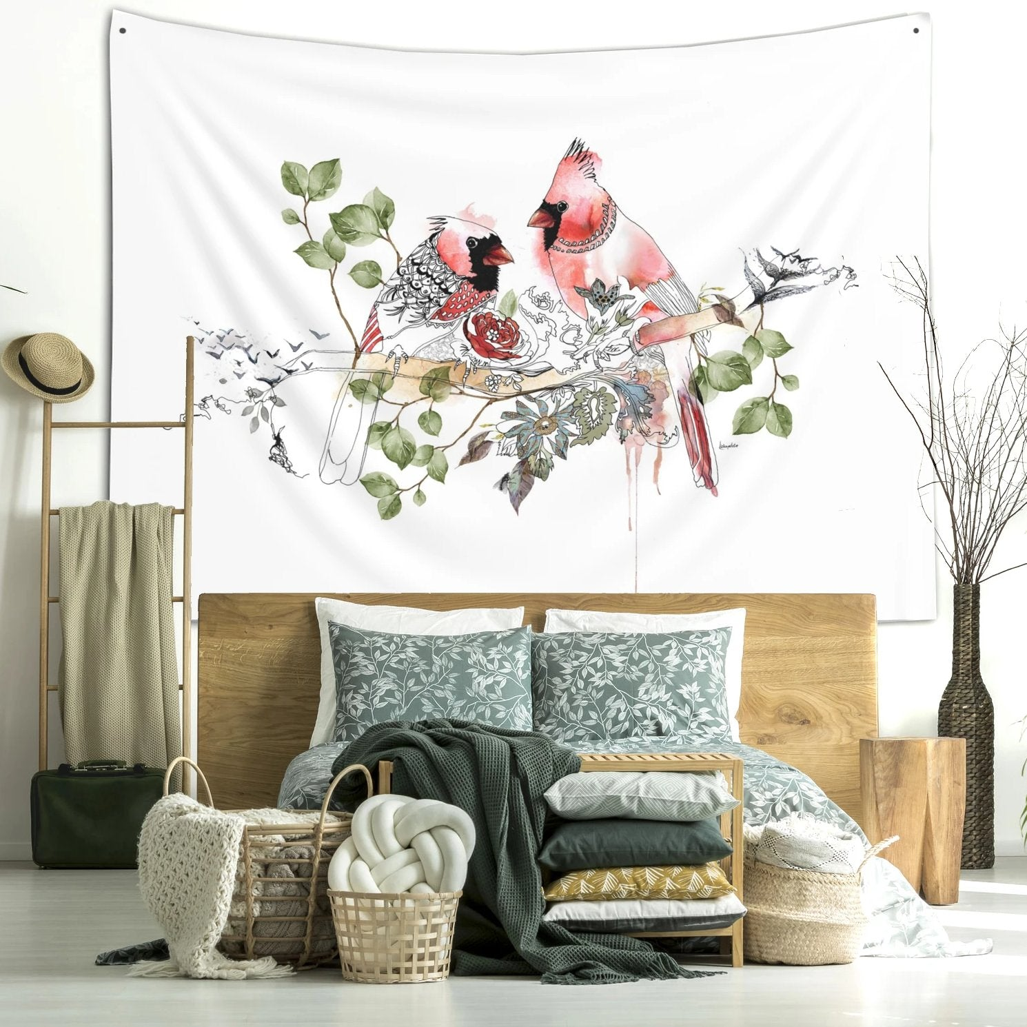 Cardinal wall tapestry hanged on a wall in a boho bedroom | Liz Kapiloto Art & Design