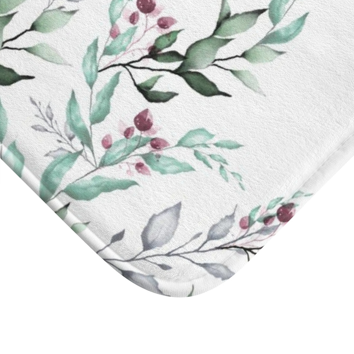 white bath rug with a print of green leaves and purple flowers - Liz Kapiloto Art & Design