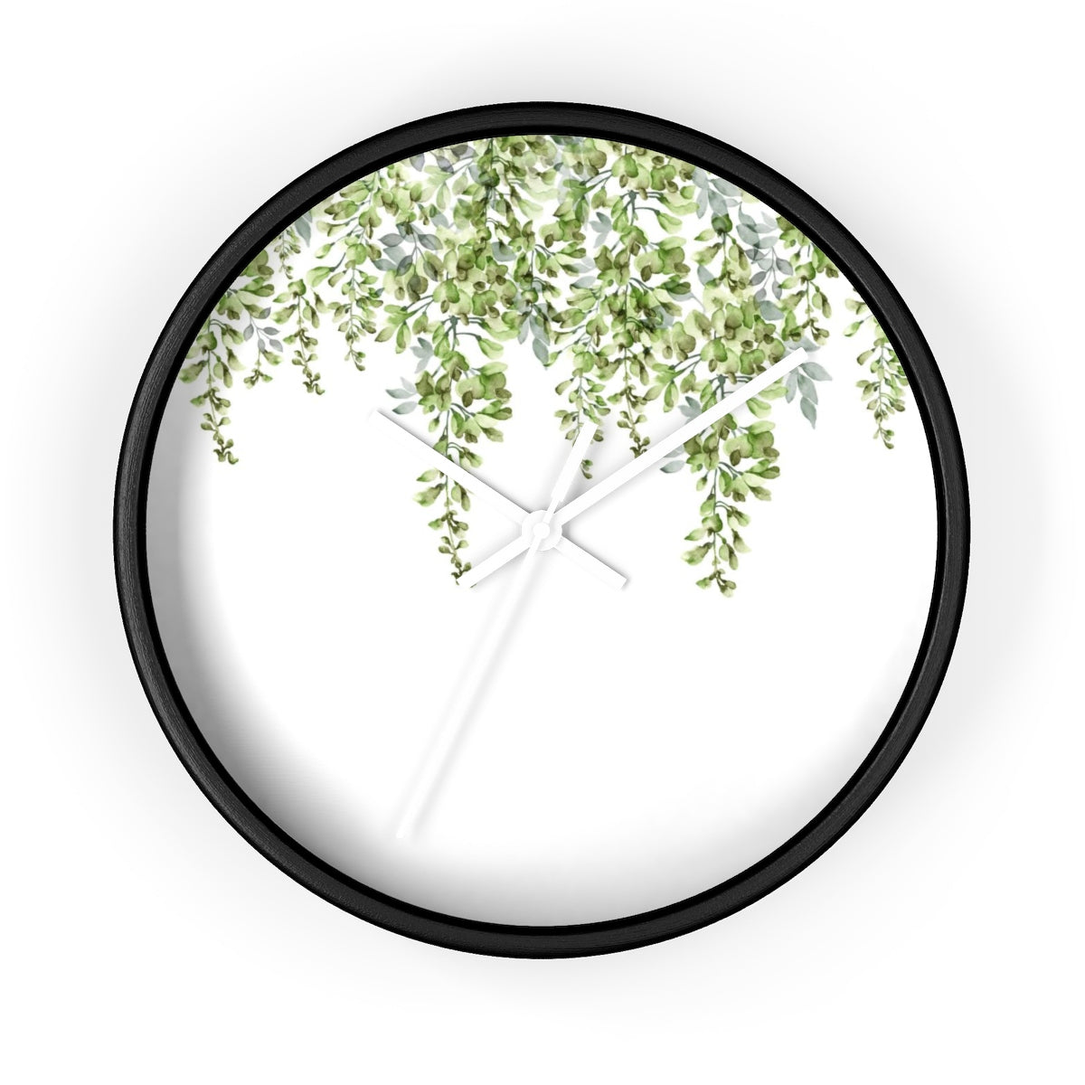Round black, white and green wall clock