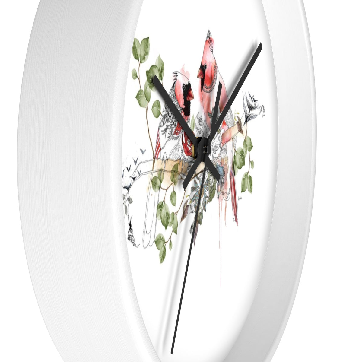 Side view of white round clock of red cardinal