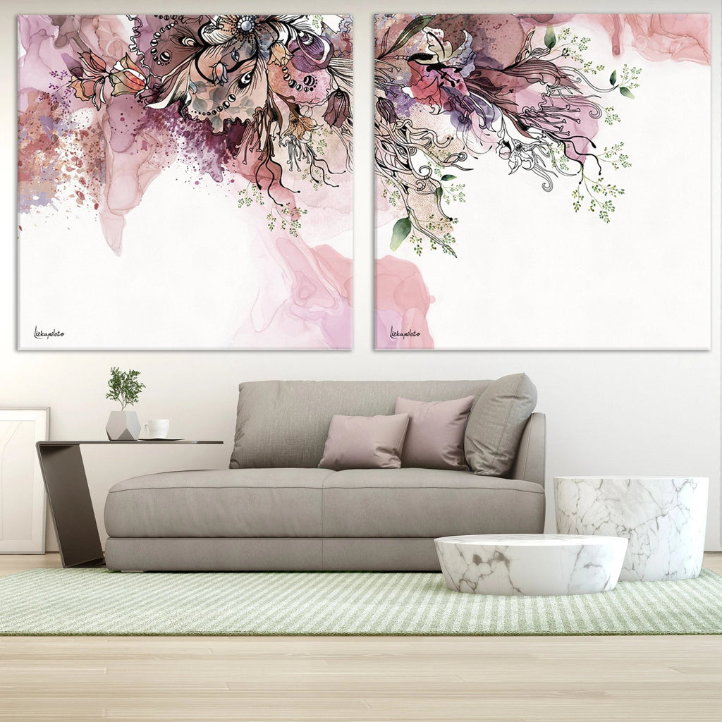 Purple Abstract Paintings in a Modern Living Room