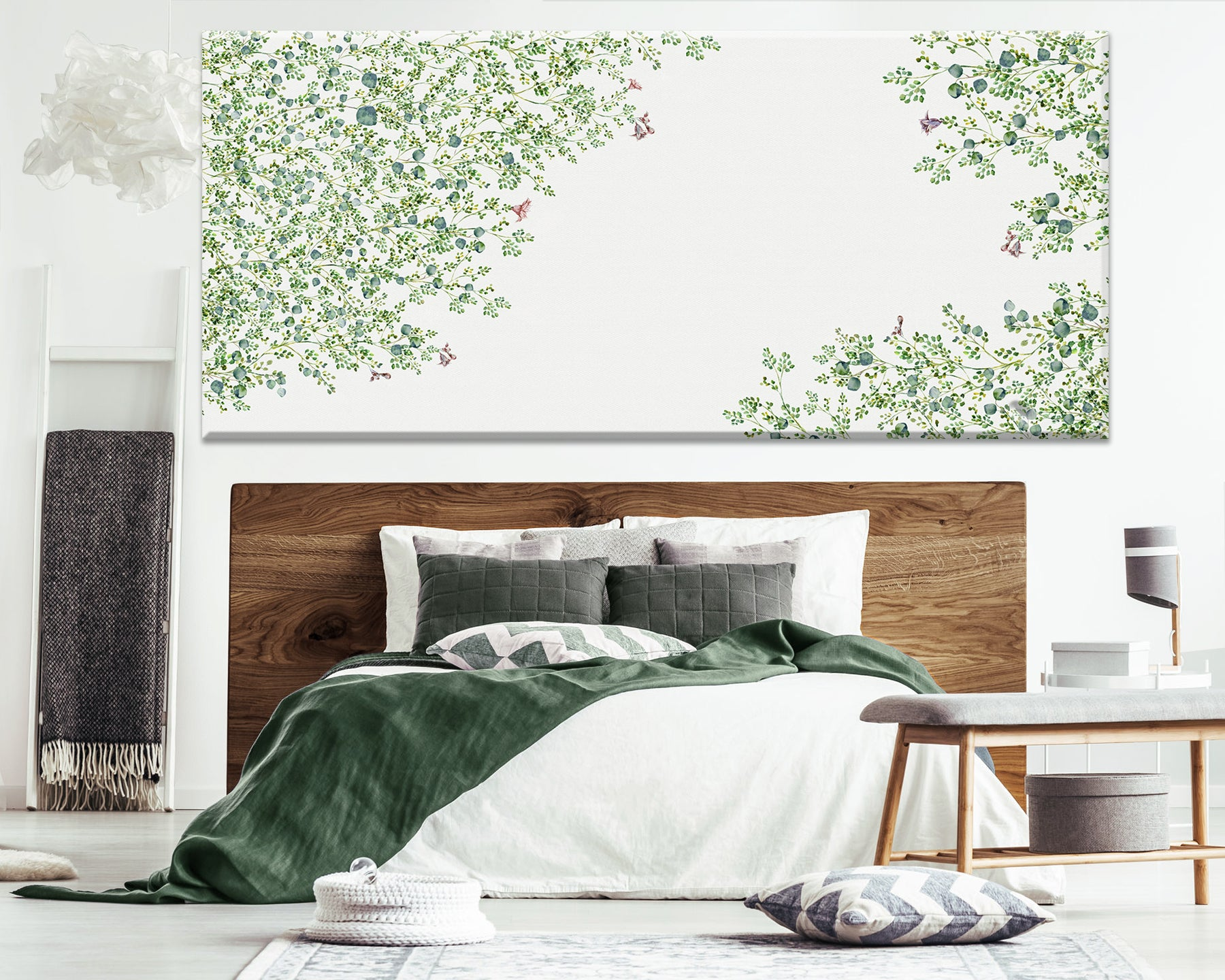 Canvas painting of a green abstract tree, hanged above bed