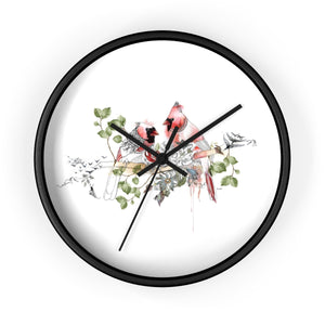Red cardinal wall clock with a black frame - Liz Kapiloto Art & Design