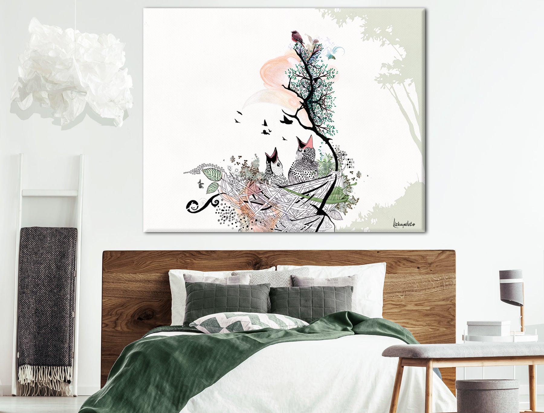 painting of baby birds in a nest, above bed