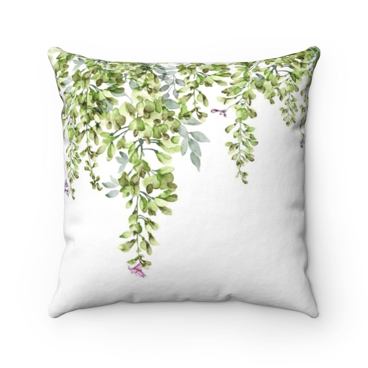 decorative throw pillow with green leaves design