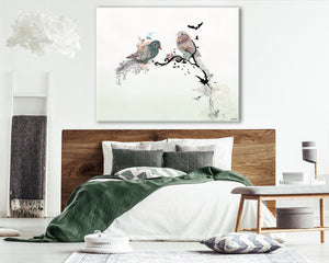 love birds wall art above bedroom bed