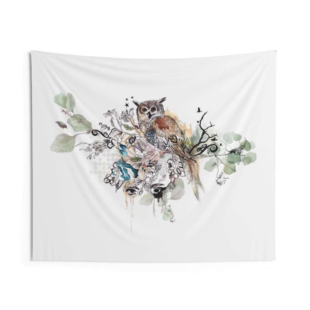 Boho wall decor of an owl wall tapestry hanging
