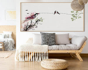 Large bird art above sofa with purple and green colors