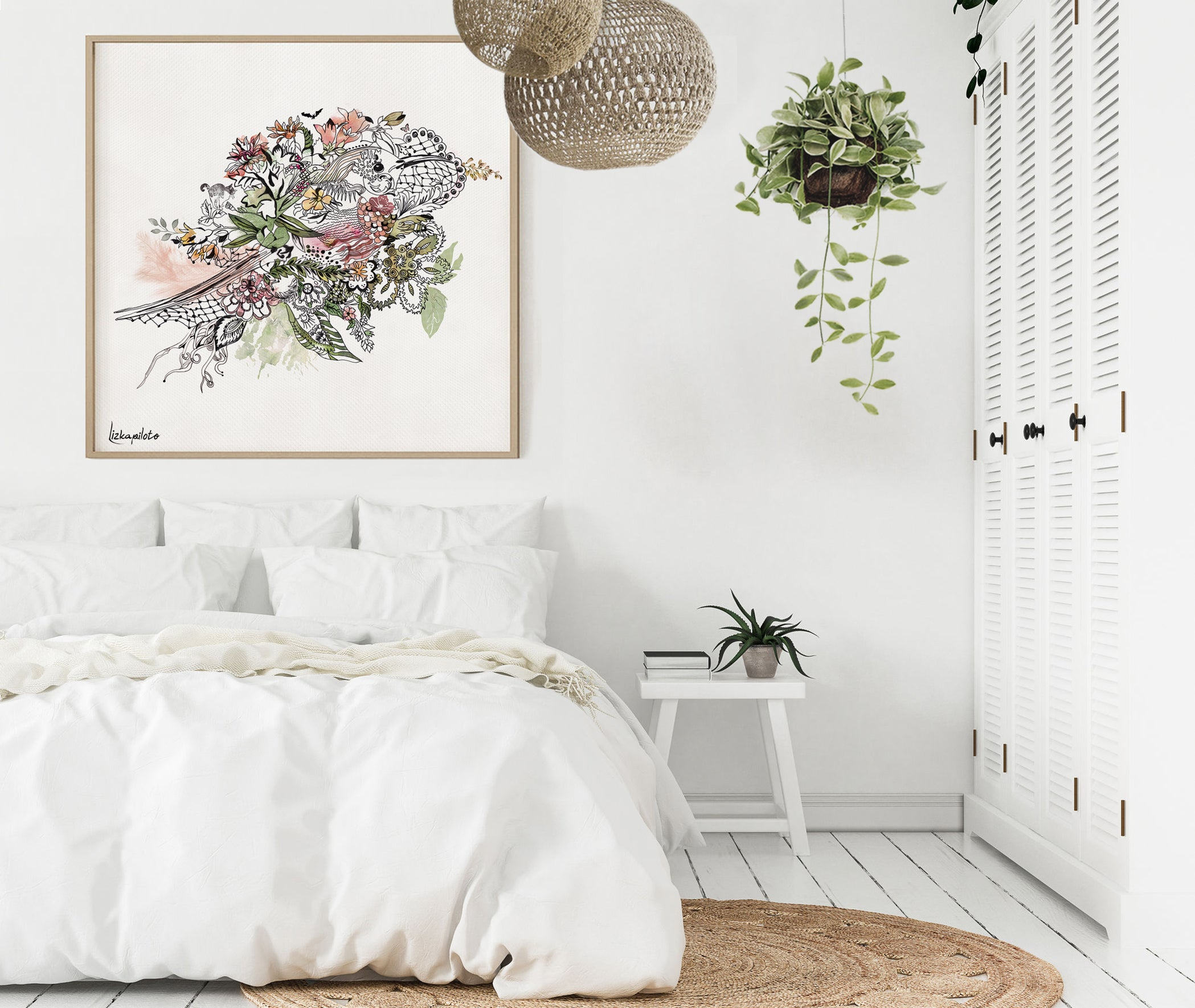 bird watercolor painting with flowers, framed and hanged in a white bedroom