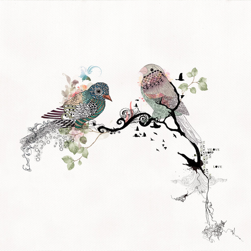 love birds watercolor painting - soft pastel colors and black ink - Liz Kapiloto Art & Design
