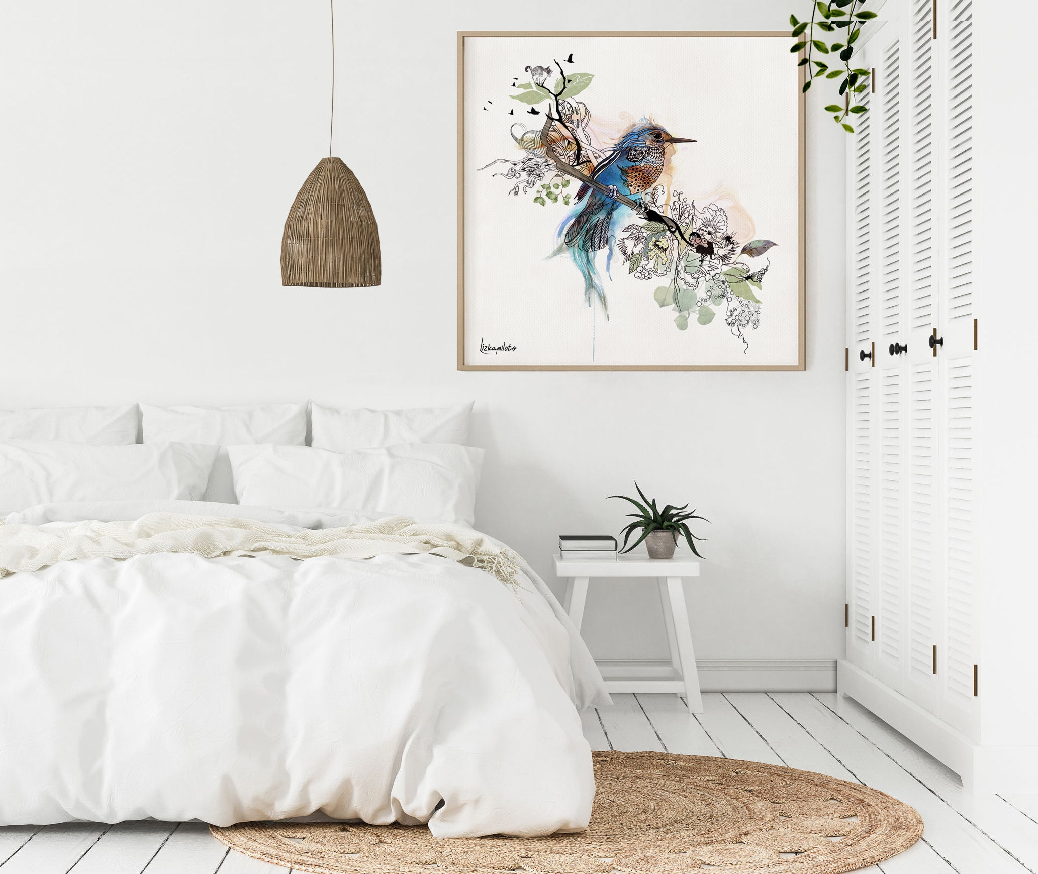 A bluebird framed painting, hanged on a bedroom wall