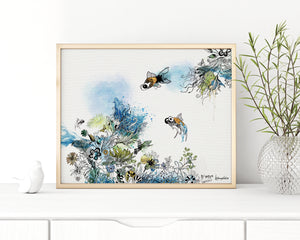 watercolor painting of blue corals and goldfish around