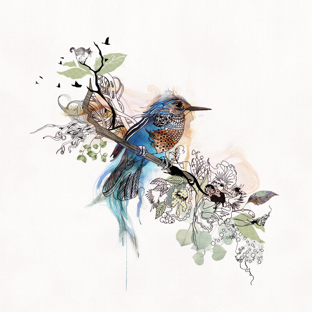 Blue Bird Watercolor Original Painting | Liz Kapiloto Art & Design