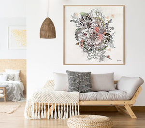 Boho painting of mandala - framed and hanged on a bohemian space