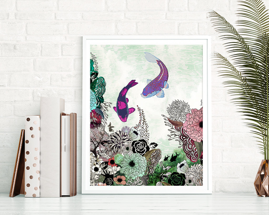 Colorful koi fish painting with flowers.
