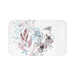 Microfiber bath mat with purple flower  - Liz Kapiloto Art & Design