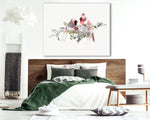red cardinal painting above bed in bedroom space