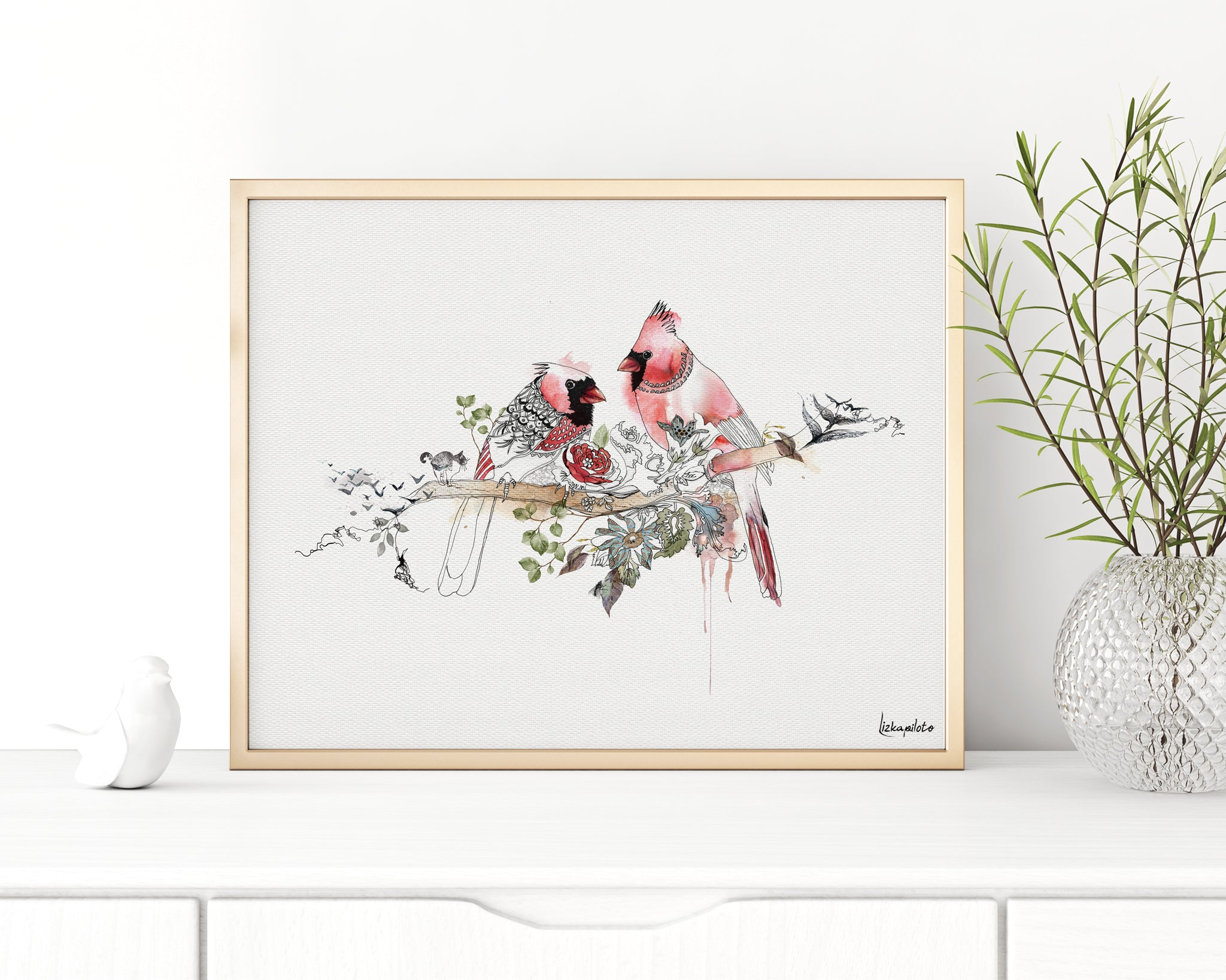 cardinal watercolor painting, in a gold frame