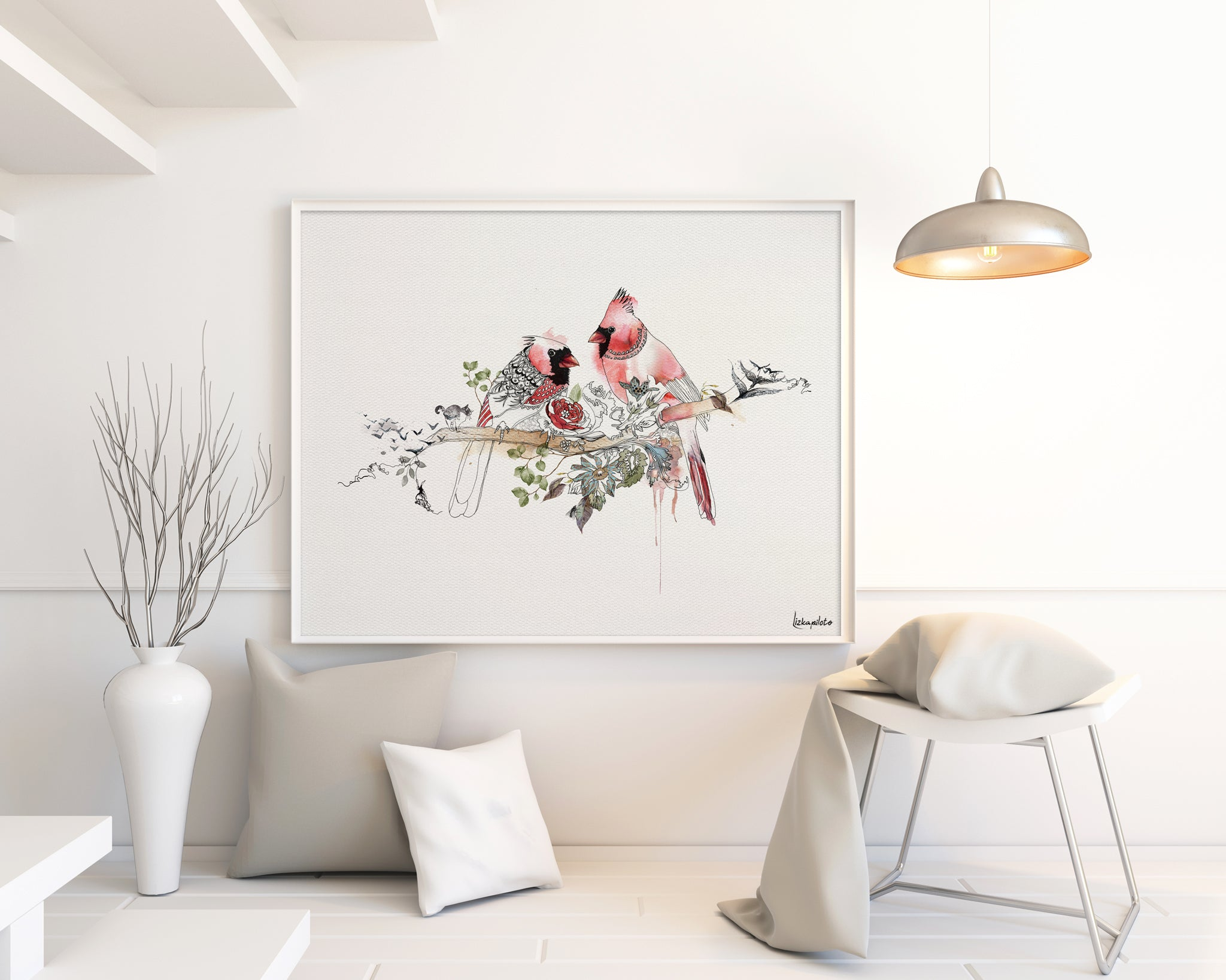 cardinal art with red colors, hanged on the wall