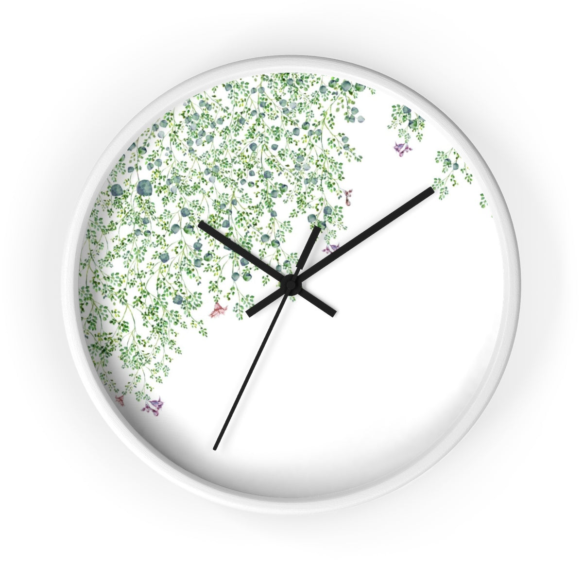white wall clock with green leaf minimalist design