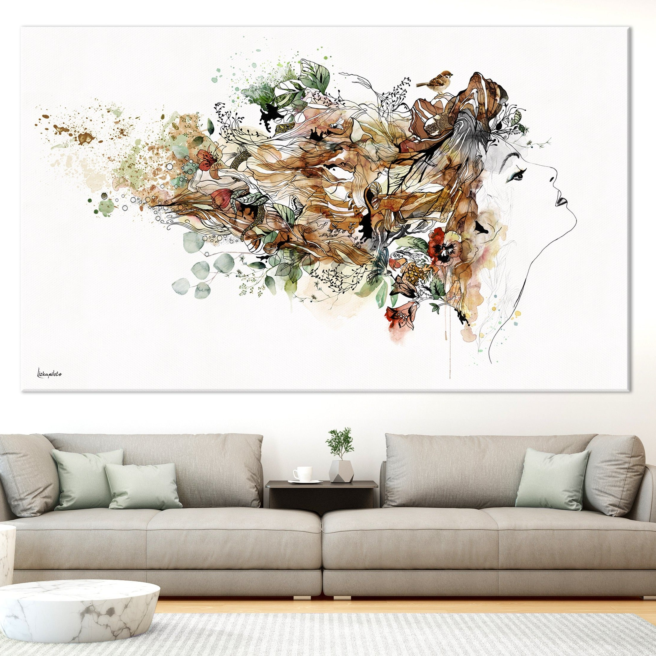 large wall art of woman colorful painting