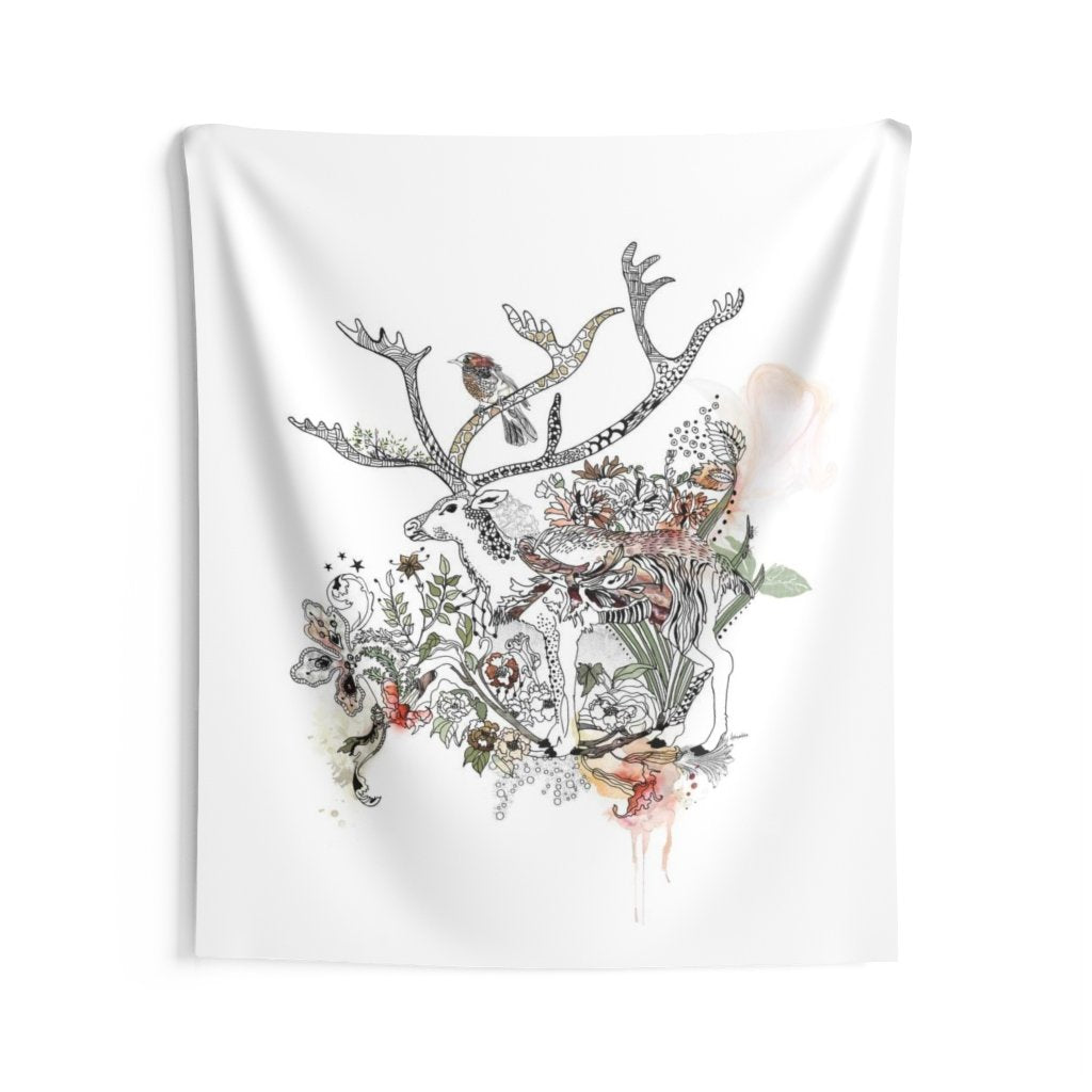 boho wall tapestry hanging, deer tapestry