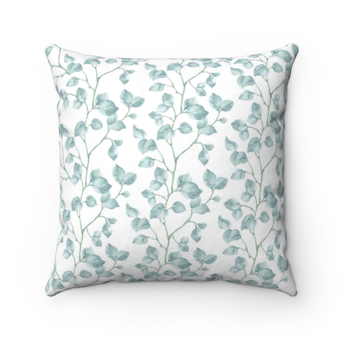 Light blue leaf Tthrow pillow