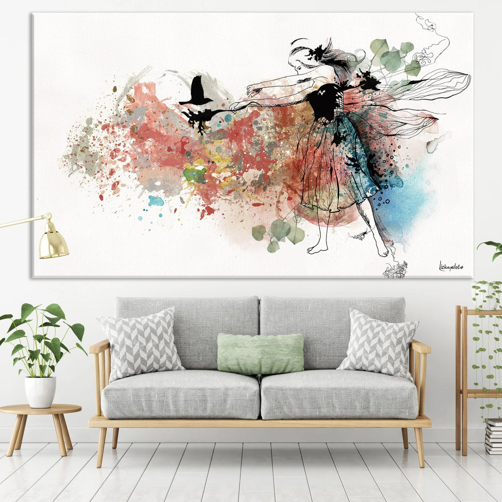 Large panoramic colorful painting of dancing woman.