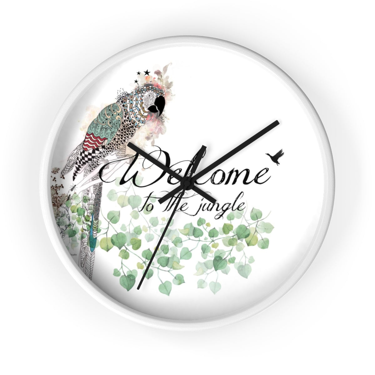 colorful wall clock with a parrot illustration - Liz Kapiloto Art & Design