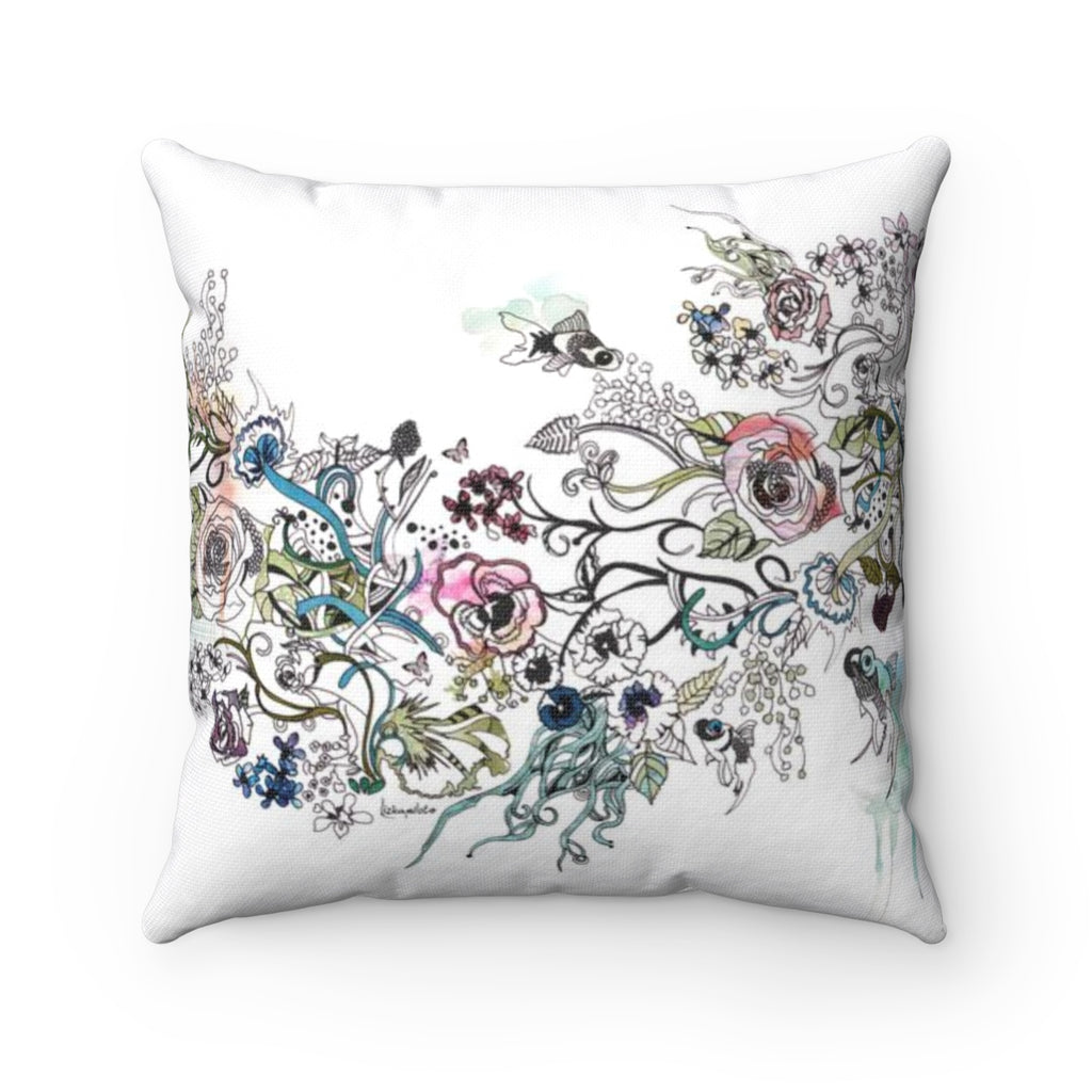 Floral Fish Throw Pillow - Liz Kapiloto Art & Design