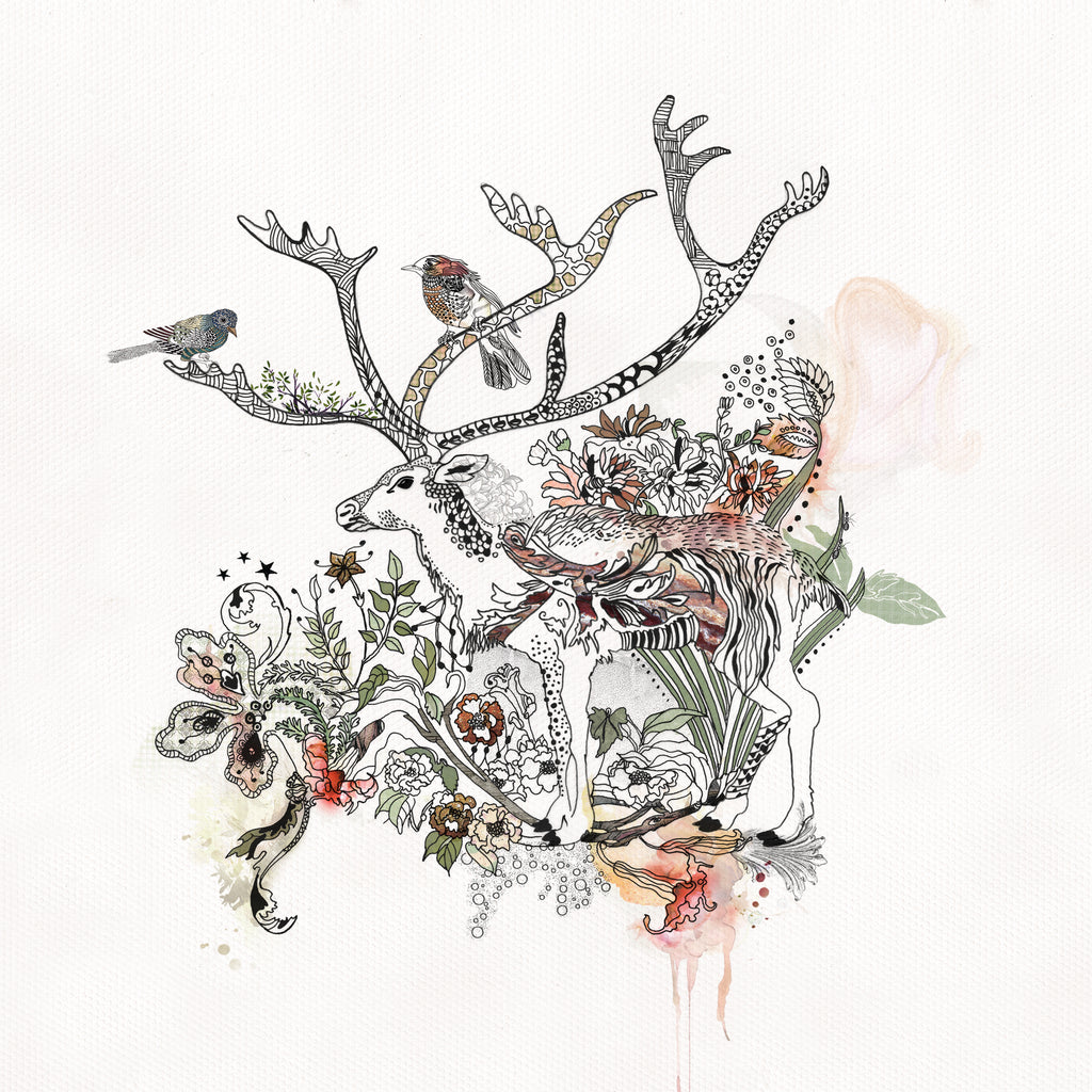 Deer illustration with birds and flowers around - Liz Kapiloto Art & Design
