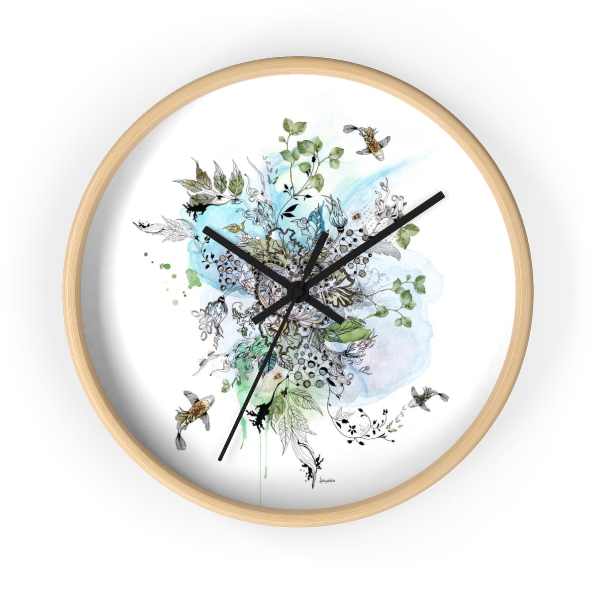 Wood wall clock with blue art