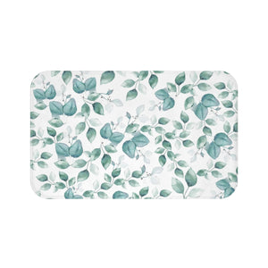 Light blue leaf pattern bathroom rug  - Liz Kapiloto Art & Design