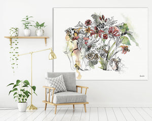 Large canvas of colorful elephant watercolor painting.