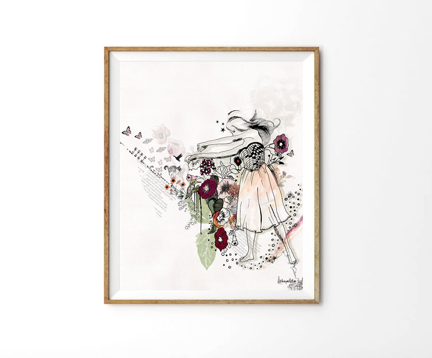 Framed collage art of dancing woman