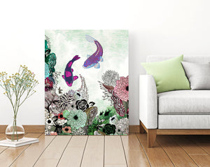 Purple and turquoise koi fish art on canvas