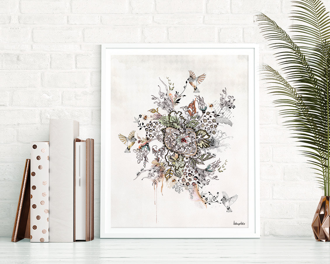 Floral abstract painting with a lot of details flowers and birds around