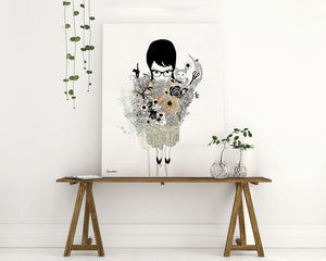 Painting of a black hair girl holding a bouquet of flowers cats and spider