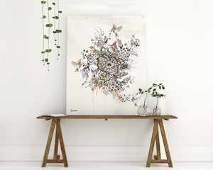 Black and white flowers and birds painting