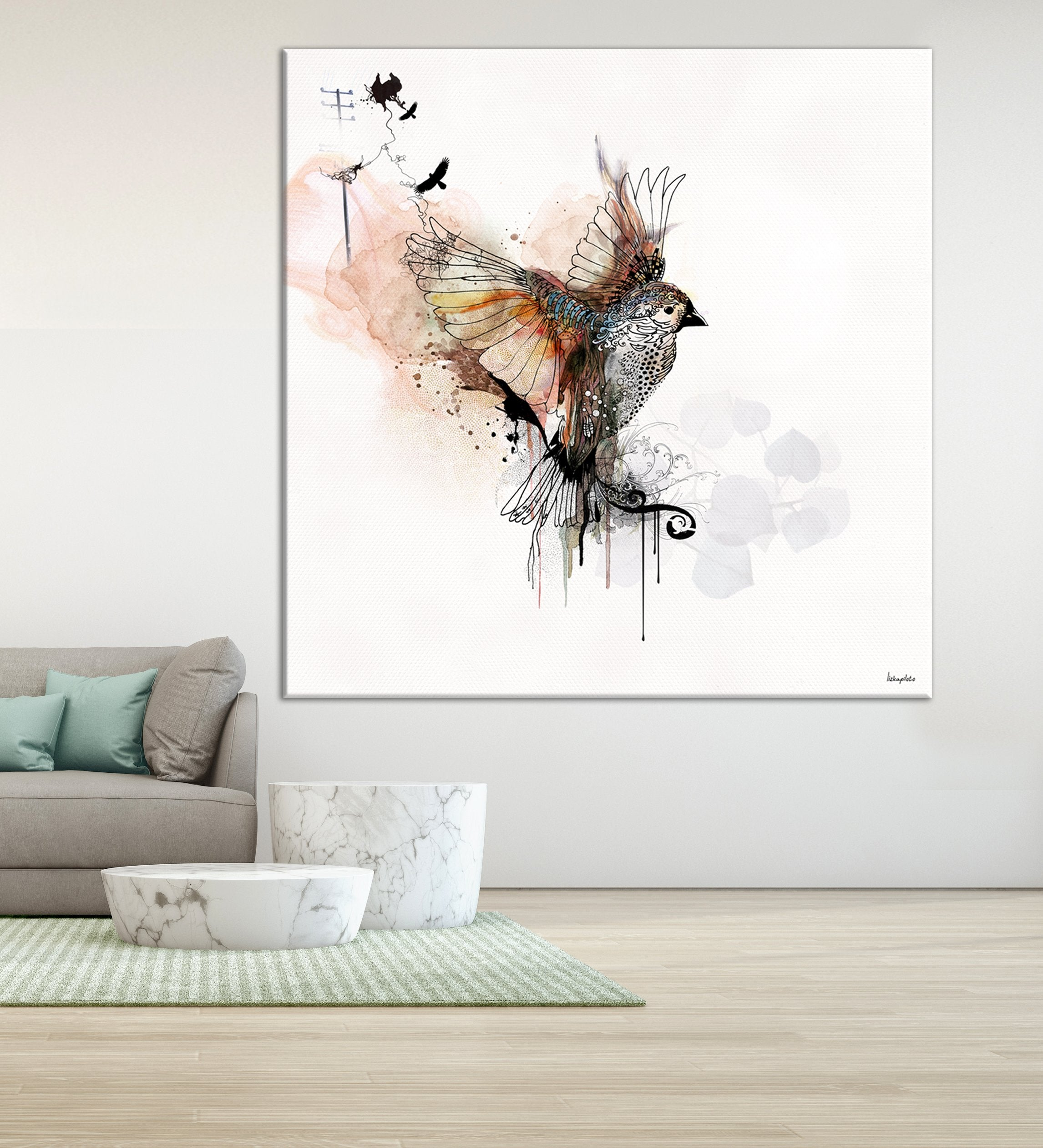 large canvas art of watercolor bird painting on the wall