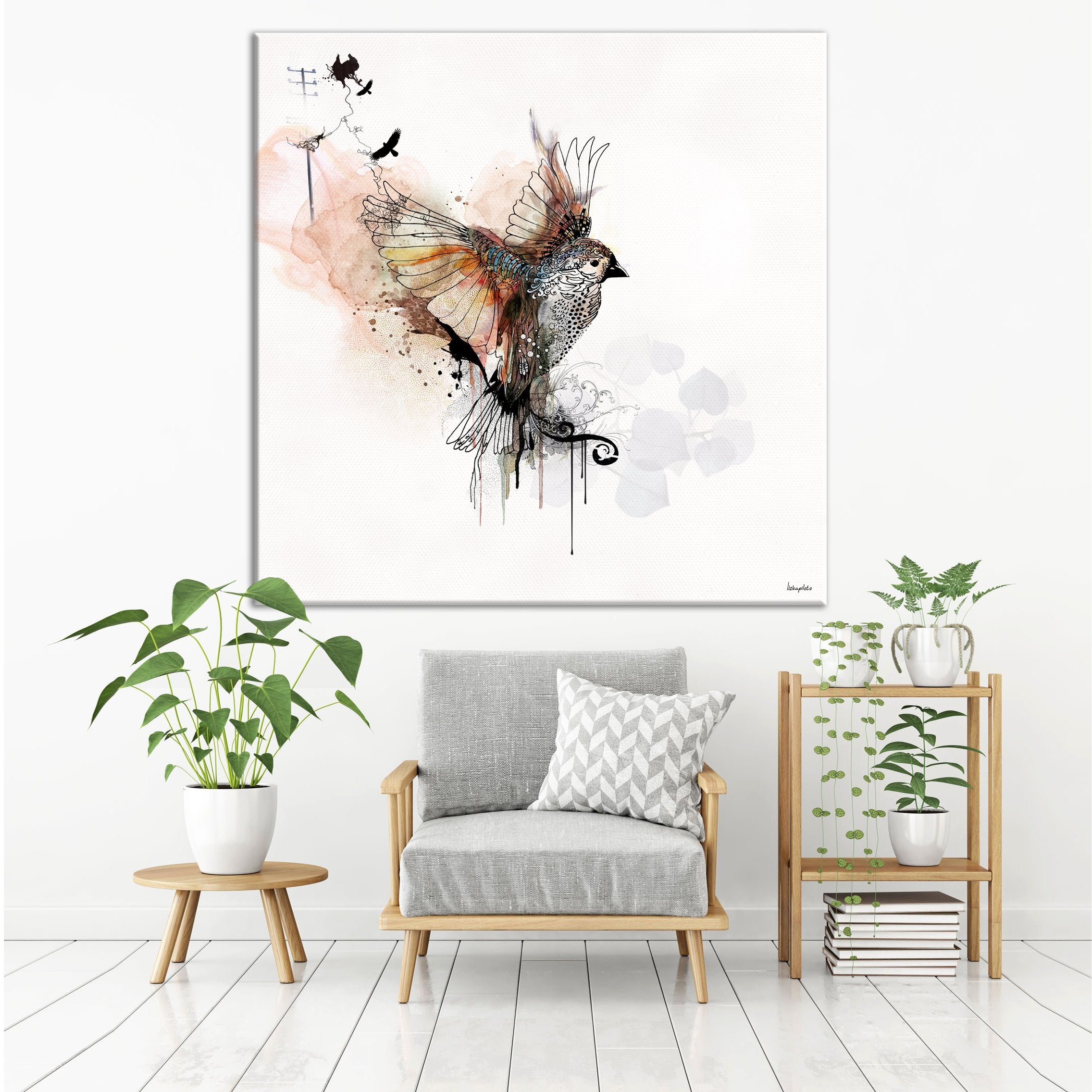 Flying bird watercolor painting