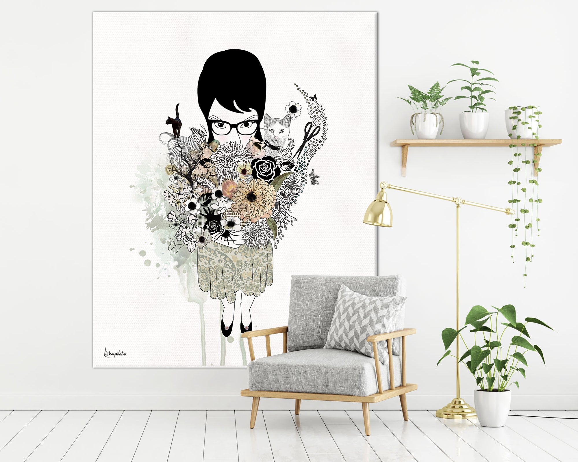 large canvas painting of gothic girl, hanged on a white big space