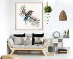 A bluebird art, hanged on a bedroom wall
